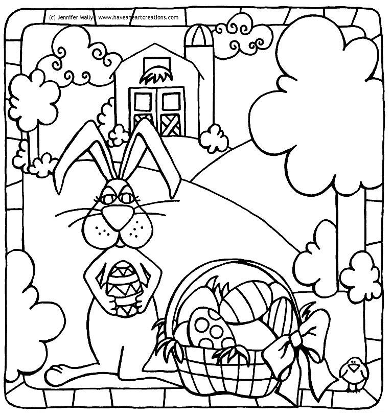 Easter Bunny On The Farm Coloring Sheet